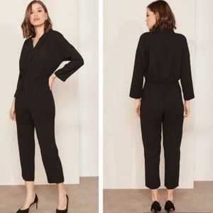 J. Crew Black High Waist Lapel Jumpsuit